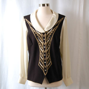 {Bob Mackie} Black Cream Fitted Button Down Blouse